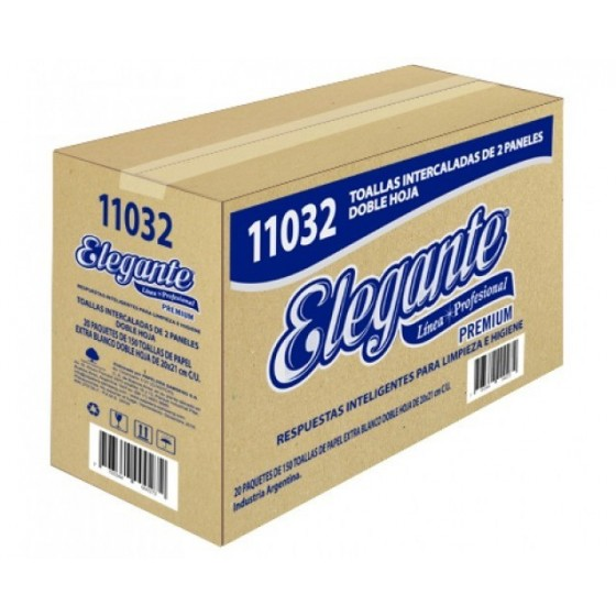 TOALLA BLANCA 2P 3000U INTERCALADA ELEGANTE (COD-11032)