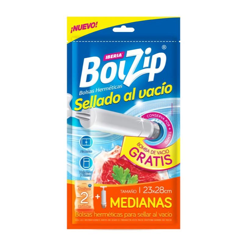 BOLZIP BOLSA AL VACIO + BOMBA 2U 23CM X 28CM