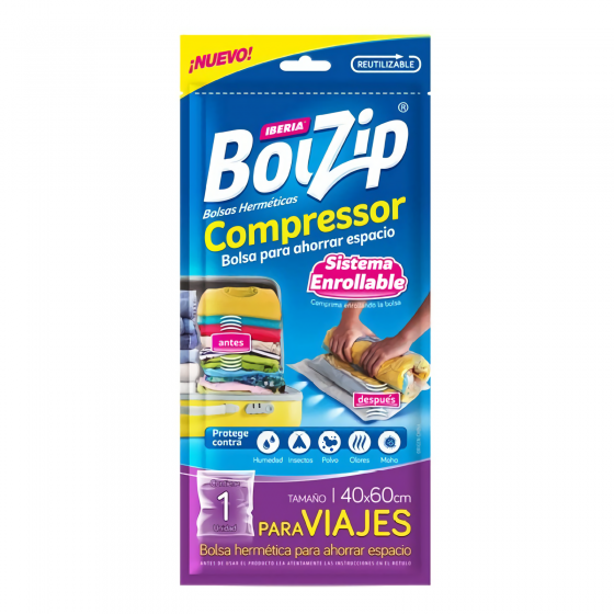 BOLZIP BOLSA COMPRESS 40*60 1U ENROLLABLE