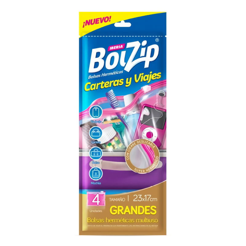 BOLZIP BOLSA CARTERAS Y VIAJES 4U 23CM X 17CM